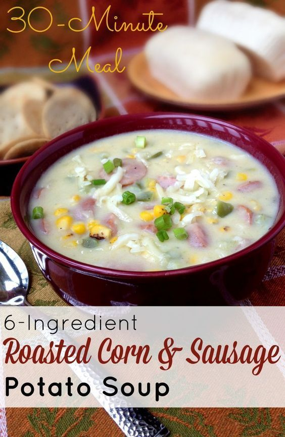 You have a pot of this delicious 6-Ingredient Roasted Corn & Sausage Potato soup on the table in 30 minutes! This is a perfect recipe for Fall and Winter when you want a hearty meal on on the table quick. I like to serve it with some crusty bread or crack