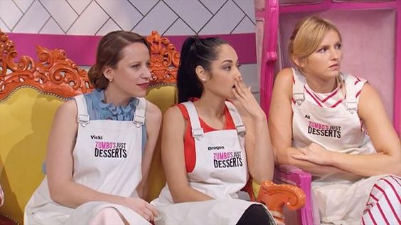 Episode 3 was all about Love and Chocolate. Stylishly outfitted in a Cargo Crew Sidney Bib Aprons... Zumbo's Just Desserts Contestants.