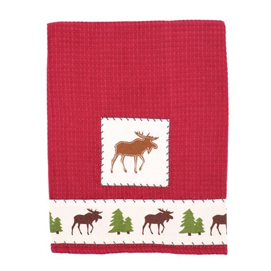 The Perfect Addition For You Cabin Kitchen Cotton Waffle Dish Towel Features Embroidered Moose And Tree Pattern In