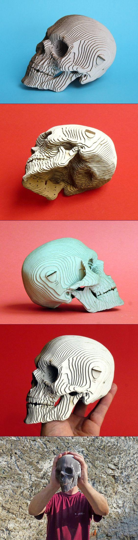 Skull 3D Lenmarco Laser, cardboard, laser cutting