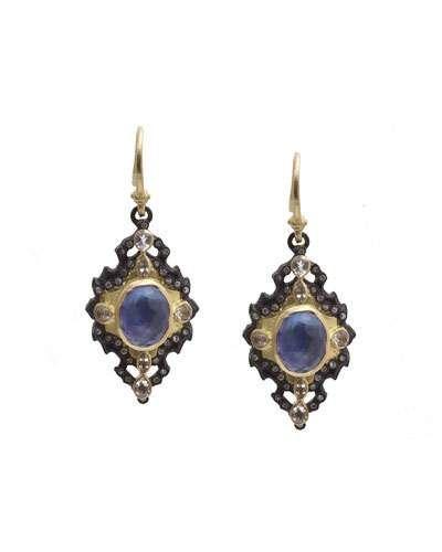 Iris Scroll Diamond & Sapphire Triplet Drop Earrings