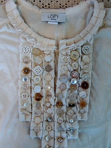 Knit Shirt Makeover - probably a cute shirt on sale...embellish it with buttons and you have something special