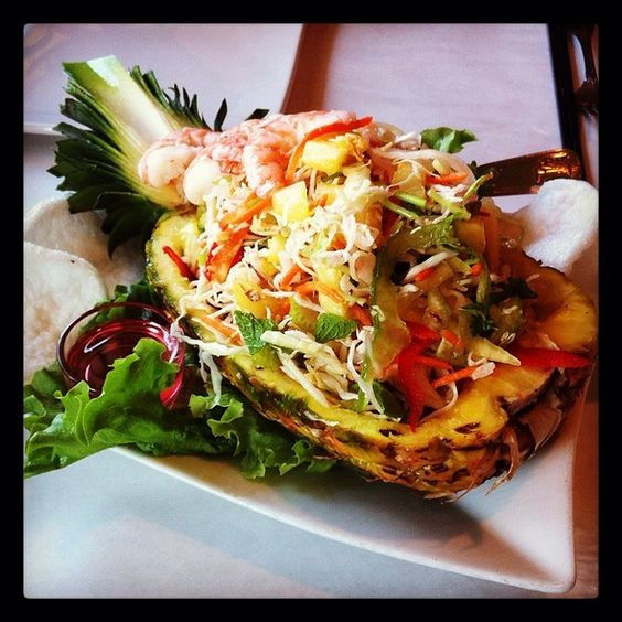 Cuisine Moderne Avec Piano : Pineapple Salad with Shrimp @ Dragon Rouge in Alameda  Food Ive