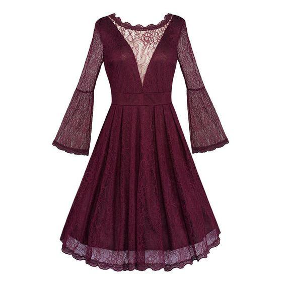 Women flare sleeve dress Plus size wine red lace patchwork see through skater rockabilly pinup robe dentelle tunique femme