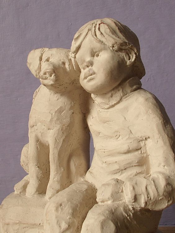 Boy dog figurine Austin Sculpture Bright Eyes by ShoponSherman, $24.00