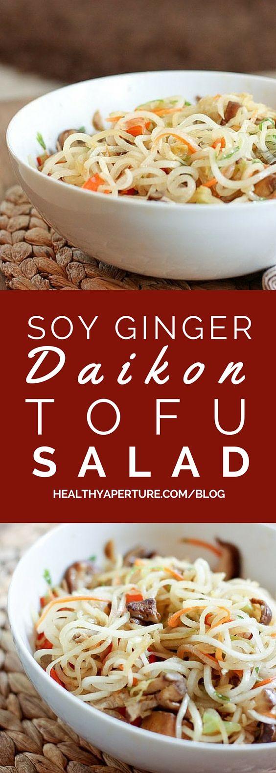 Soy Ginger Daikon and Tofu Salad | Recipe | Veggie Noodles, Noodle ...