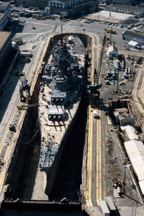 An Aerial View Of Battleship Uss Iowa Bb 61 In Dry Dock No 4 At