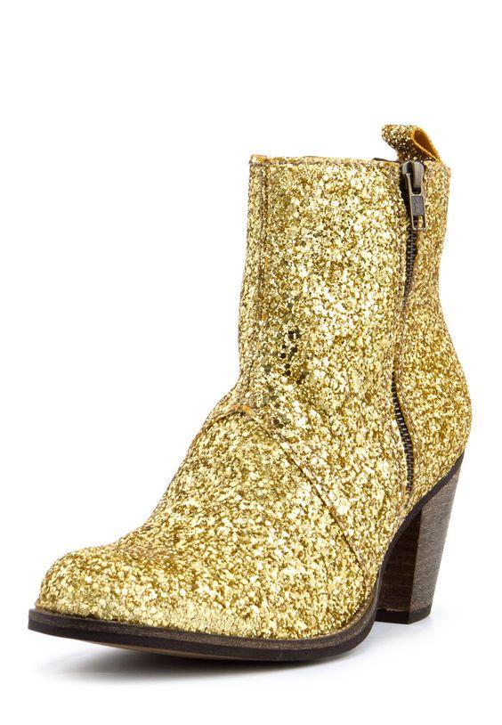 Stiefeletten, Absatz 7 cm, golden