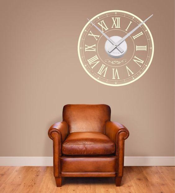 Wandtattoo, Wandsticker, Wandaufkleber, Uhr als Wandtattoo, Karlsson little Big Time Uhrwerk, Vintage Uhr als Wandtattoo, verschiedene Größen und Farben, Bahnhofsuhr, Altmodische Uhr