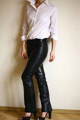 NEW GAP RARE VINTAGE Black 100% Leather Boot Cut Jeans Pants Biker ...