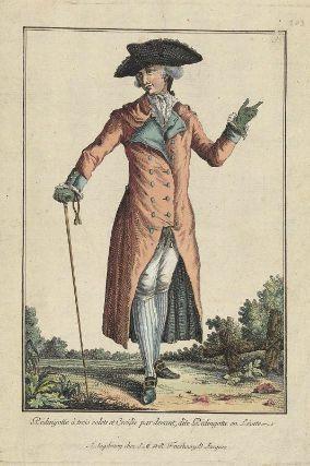 """""""Rédingotte à trois colets et Croisée par devant, dite Rédingotte en Lévite"""", Gallerie des Modes, 1781; MFA 44.1509"""