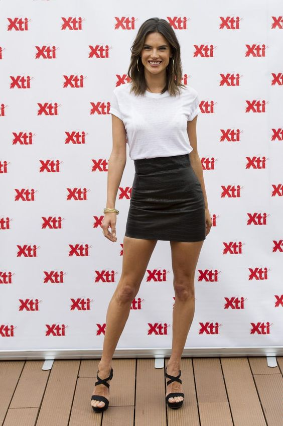 Alessandra Ambrosio wearing Lana Jewelry Mega Lana Hoop Earrings and Xti Criss-Cross Strap Sandals