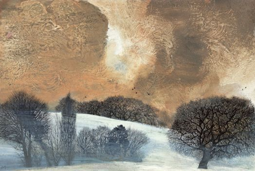 'Late Afternoon: Snow' by Mary Ann Aytoun-Ellis (egg tempera, pen and ink on panel)