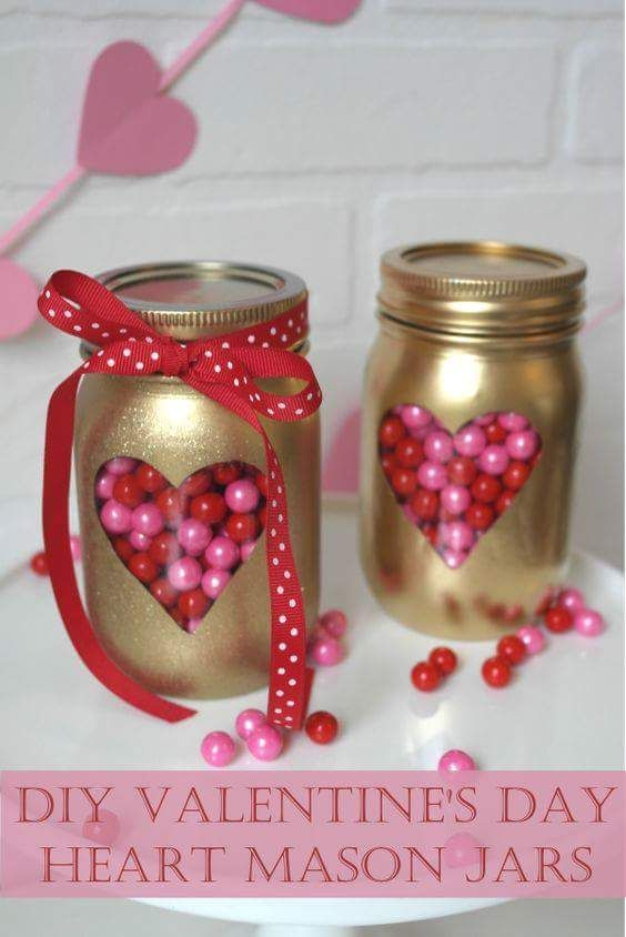 45 Crafty Cute Mason Jar Ideas For Valentine S Day Gifting And Decor Diy Valentines Gifts Diy Valentine S Day Decorations Valentine S Day Diy