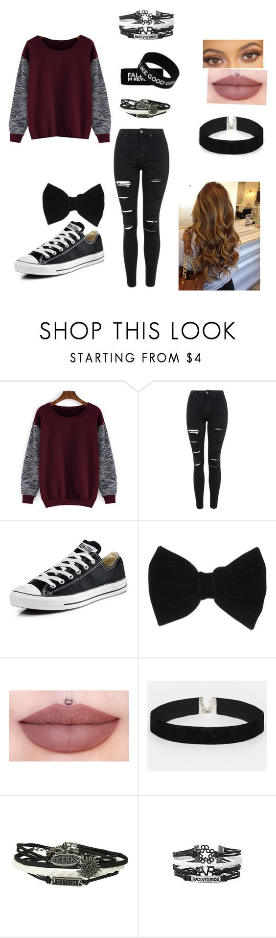 """Idek know, I'm bored af(:("" by bands-are-life22 ❤ liked on Polyvore featuring Topshop, Converse, claire's and ASOS"