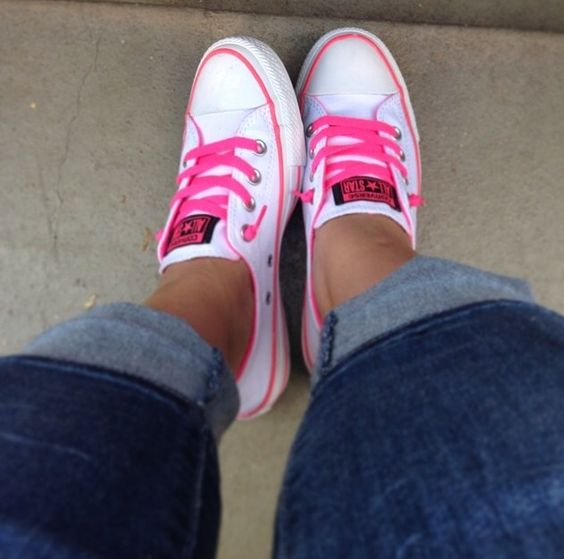 Converse Chuck Taylor Shoreline with Hot Pink Laces. Super comfy and stylish! love these!