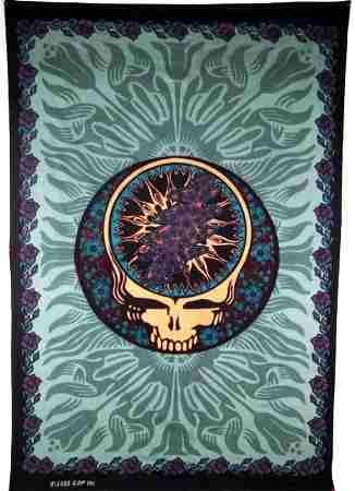 """Grateful Dead - Blue Rose SYF Tapestry - $25.99  This large Grateful Dead Steal Your Face Blue Rose tapestry is approx. 60"""" x 90"""" . You can use this tapestry as wall hanging in your home or office, throw it over a  couch, or as a bedspread on a twin bed. It would look great in a dorm room. Officially licensed Grateful Dead merchandise"""