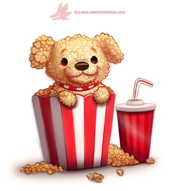 Daily Paint 1287. Pupcorn by Cryptid-Creations
