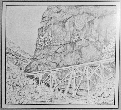 A pencil sketch I did from a photo I took in Alamo Canyon (near Alamogordo, New Mexico. the 'flume' is a pipeline carrying water for Alamogordo from the Sacramento Mountains. Mid 1980's about 12 x 12