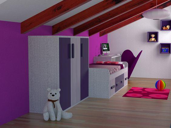 Dise o 3d reforma de una buhardilla para convertirla en - Diseno habitacion infantil ...