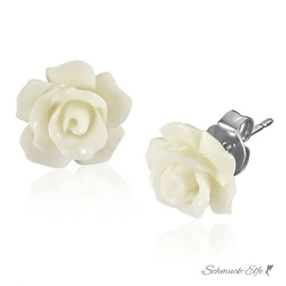 1 Paar Ohr Stecker Blüte weiß