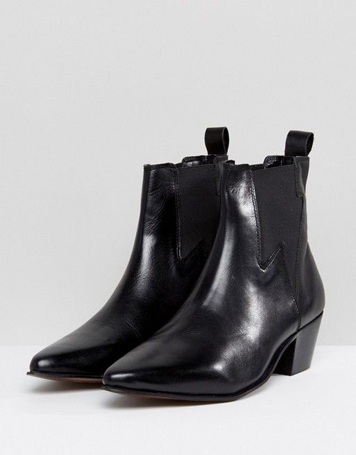 ASOS | ASOS Stacked Heel Boots In Black Leather With