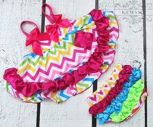 Share with your friends and receive 10% off your next purchase! Rainbow Chevron Swing Top Set #kemaily