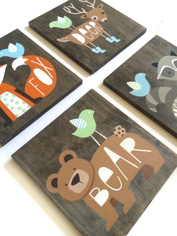 Woodland Nursery Art - Set of 4 - Rustic Nursery Decor - Woodland Animals - Fox Art - Deer Art - Bear - Woodland Critters - Forest Animals by SweetBananasArt on Etsy https://www.etsy.com/listing/386435290/woodland-nursery-art-set-of-4-rustic