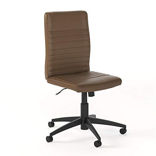 Bush Anthropology Mid Back Faux Leather Office Chair In Saddle Tan