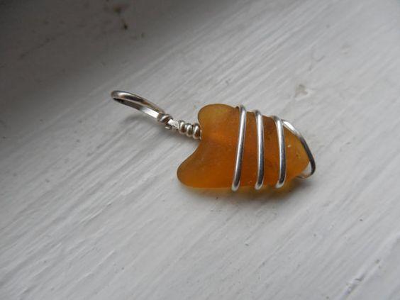 golden heart beach glass pendant by bytheshore on Etsy, $28.00