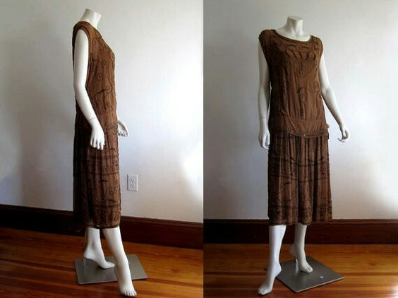 1920's Flapper dress in cocoa brown silk with copper beads.
