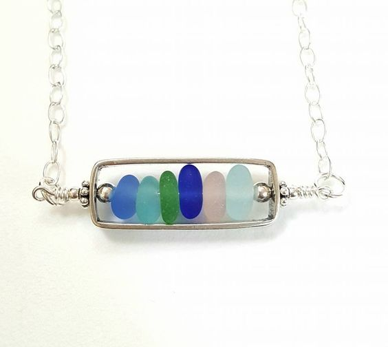 Bar Necklace With GENUINE Sea Glass In Sterling Silver! Please visit Surfside Sea Glass for more great beach jewelry at: https://surfsideseaglass.com/ This Sterling Silver bar locket holds six beautif