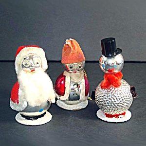 Glass Chenille Whimsy Santa, Snowman Christmas Ornaments