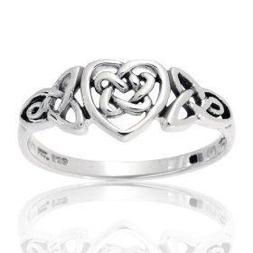 Bling Jewelry Stering Silver Celtic Knotwork Heart Ring - size 4, (celtic jewelry, celtic, jewelry, silver, ring, rings, sterling silver ring, silver insanity, sterling silver, gem avenue):