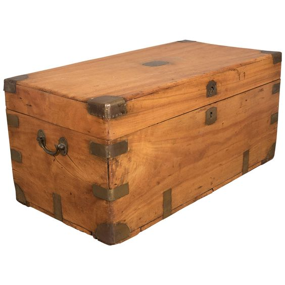 Chinese Export Camphorwood Sea Chest or Campaign Trunk   From a unique collection of antique and modern blanket chests at https://www.1stdibs.com/furniture/storage-case-pieces/blanket-chests/