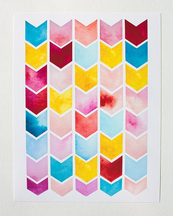 chevron watercolor PRINTgeometric patternnursery artwork