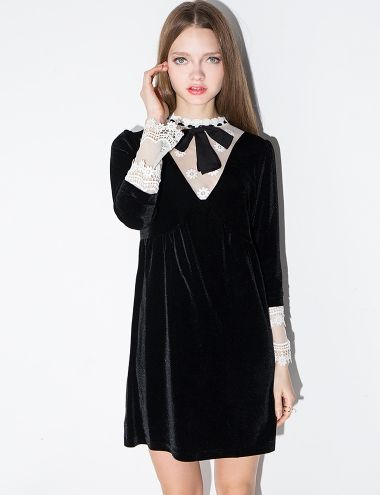 Black Velvet Lace Babydoll Dress  #fashion #womenclothing @pixiemarket: