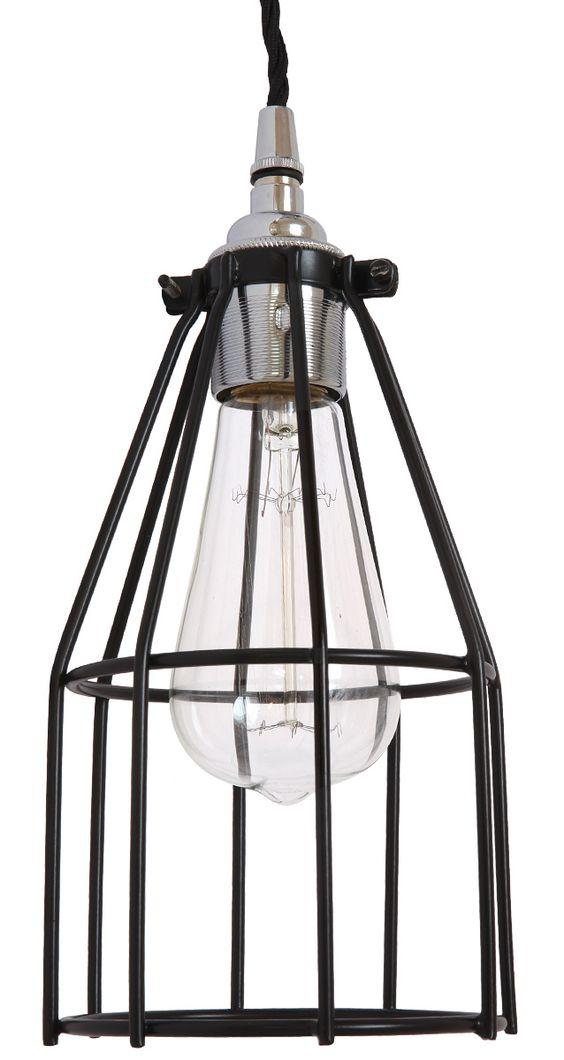 Einfache Industriestil-Pendelleuchte mit Schutzgitter,  bestückt mit einer Edison-Glühfadenbirne