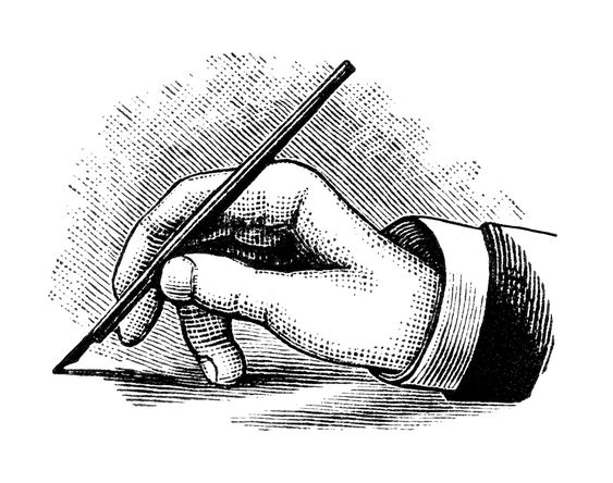 vintage hand writing with pen black and white clipart