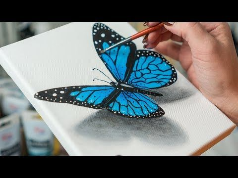 How To Paint 3d Butterfly Blue Butterflies Acrylic Painting Tutorial Step By Step Youtube Butterfly Acrylic Painting Butterfly Painting Butterfly Drawing
