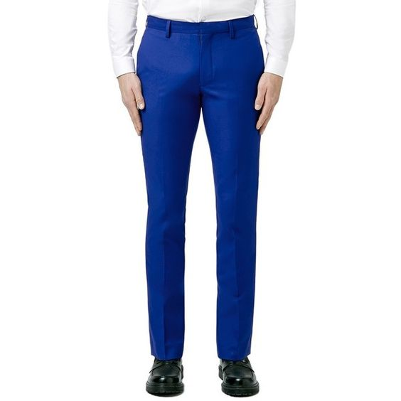 Topman Skinny Fit Blue Suit Trousers (€66) ❤ liked on Polyvore featuring men's fashion, men's clothing, men's pants, men's dress pants, mid blue, mens skinny fit dress pants, mens skinny dress pants, mens zip off pants, mens skinny pants and mens blue dress pants