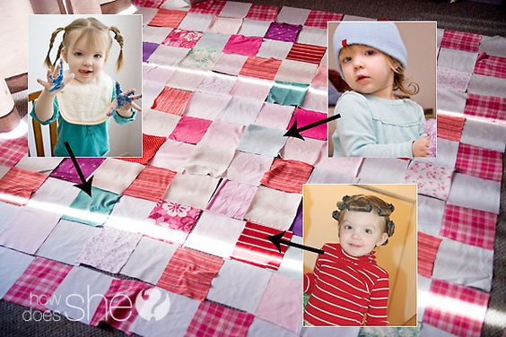 Make a Memory Quilt for Free from Your Old Clothes! Tutorial and tips included! www.howdoesshe.com #upcycle #clothes #quilt