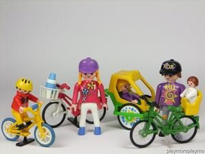 Playmobil family with bikes kids trailer baby seat figures for Playmobil kinderzimmer 4287