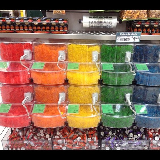 Gummy bears and 5 hour energy display.