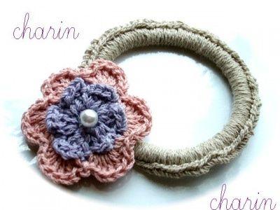 * Charin Hand made *ピンク&ブルーのお花ヘアーゴム