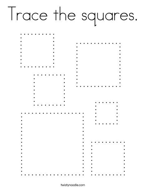 Trace The Squares Coloring Page Twisty Noodle Shape Worksheets For Preschool Preschool Tracing Pre Writing Activities Square shape worksheets for preschoolers