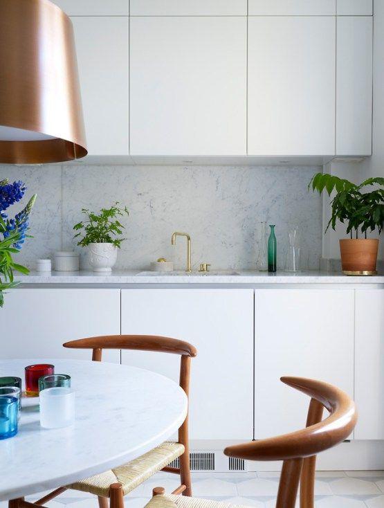 Encimeras y revestimientos en la cocina de mármol