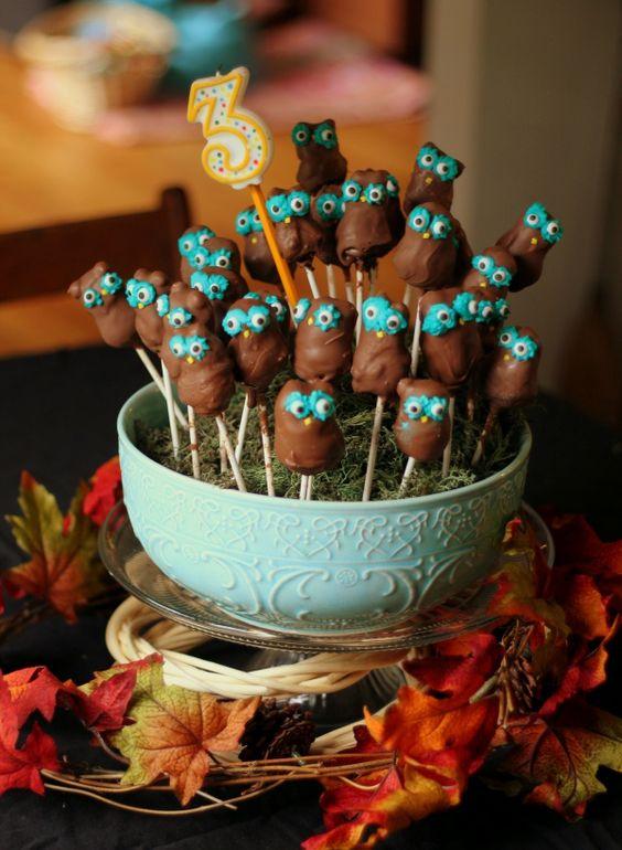 Owl Birthday Cake Pops