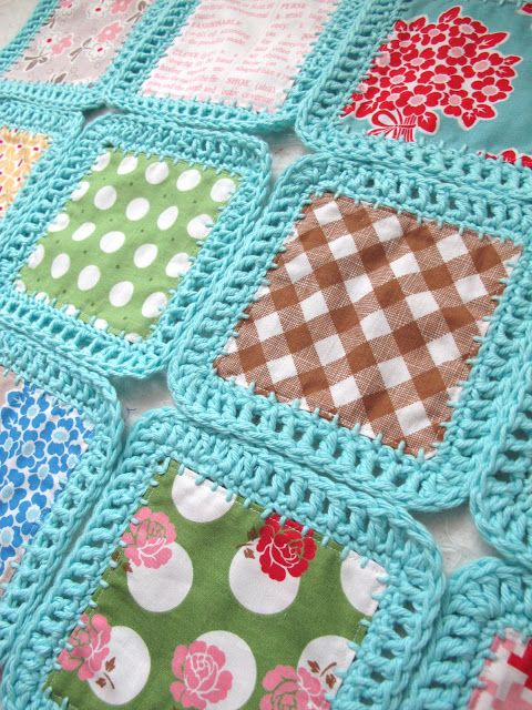Fusion Blanket - fabric squares crocheted around and then joined, with tutorial and flickr links.: