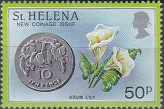 Stamp Ten Pence Coin And Arum Lily Saint Helena New Coin Issue Mi Sh 409 Sn Sh 419 Sg Sh 445 Arum Lily Flower Stamp Lily